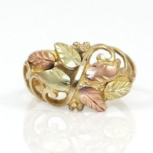 Coleman Company Solid 10K Gold Leaf Bead Ring